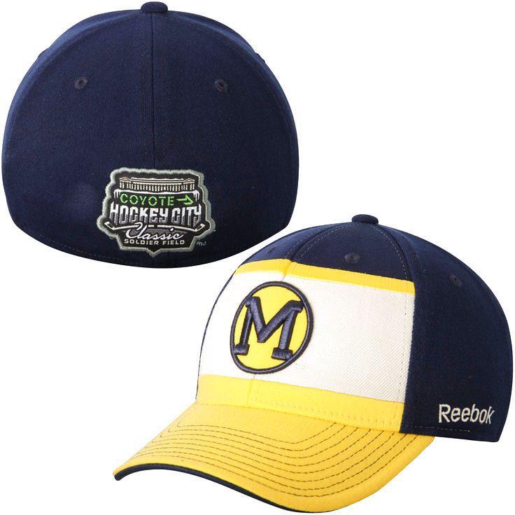 Michigan Wolverines Reebok 2015 Hockey City Classic Flex Hat - Navy Blue/Gold - $18.04