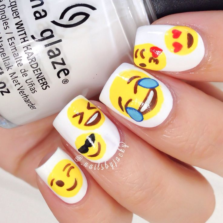 "One of my proud favs. so far! Haha, Emoji Nails. I used @chinaglaze ""White On White"" as my base. & acrylic paint for all designs."