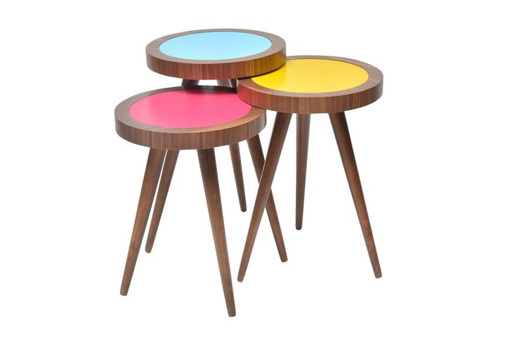 """TV Tray Table Round Walnut Colorful Wood 3 pcs. 15""""X15""""X H:24"""""""