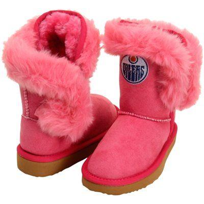 Cuce Edmonton Oilers Toddler Girls Mini-Me Fanatic Boots - Pink