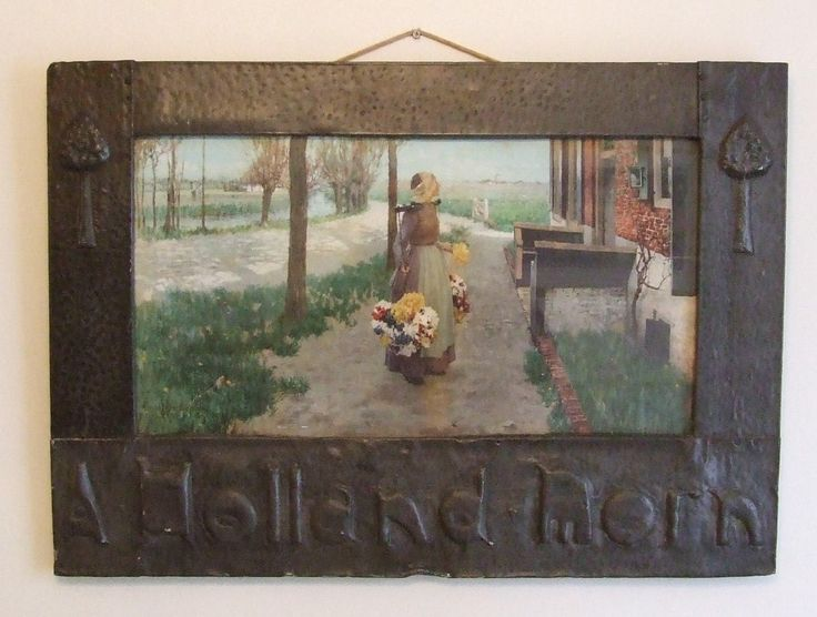 Arts & Crafts antique pewter frame with A Holland Morn print George Hitchcock American artist  antique picture frame art nouveau + freight by ElegantPossessions on Etsy