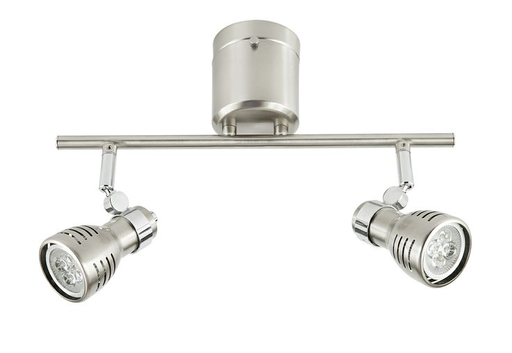 Sorrento DIY 6w LED 2 Light Spotlight with Globes in Brushed Steel
