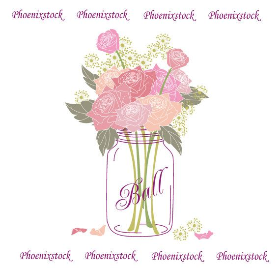 Wedding Clip Art Mason Jar Bouquet Digital Flower Rose