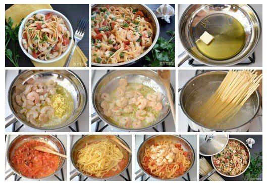 Паста с креветками и томатами / Удивительная еда!