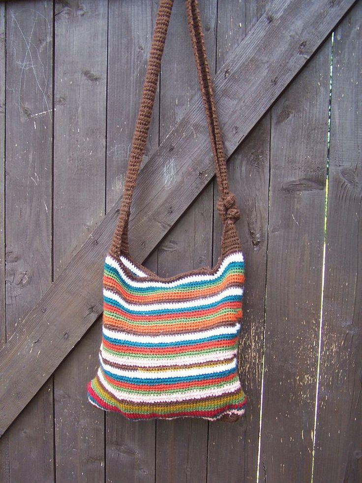 striped handbag with zipper
