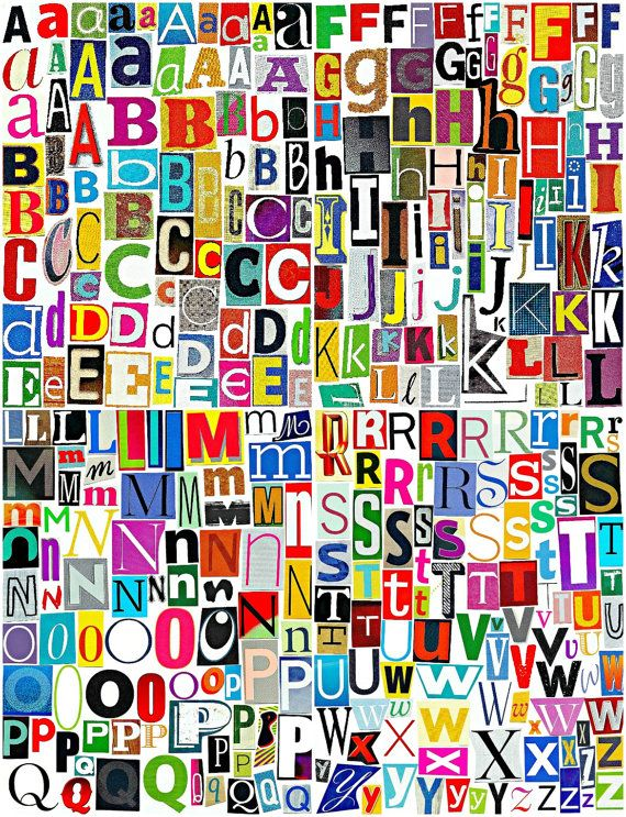 MultiColor Set 3 Printable Digital Alphabet, A to Z, Magazine Letters (INCLUDES FREE SET) Collage Letters, Ransom Note