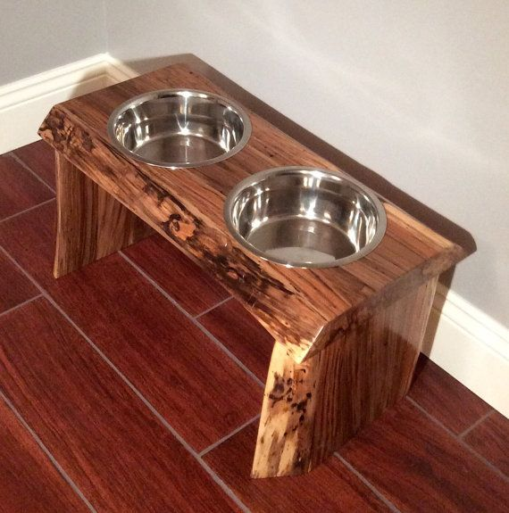 Raised Platform Dog Food and Water Bowl by MorganWoodworking
