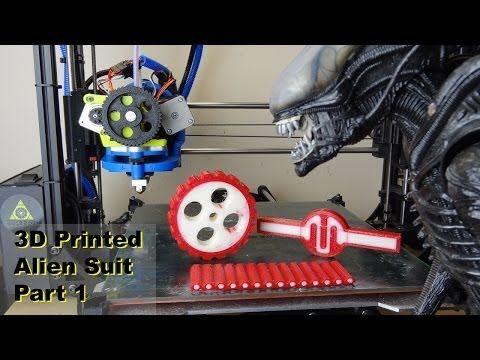 XRobots - 3D Printed Alien Suit PART 1 - hybrid rigid/rubber prints with a dual extruder Lulzbot TAZ - YouTube