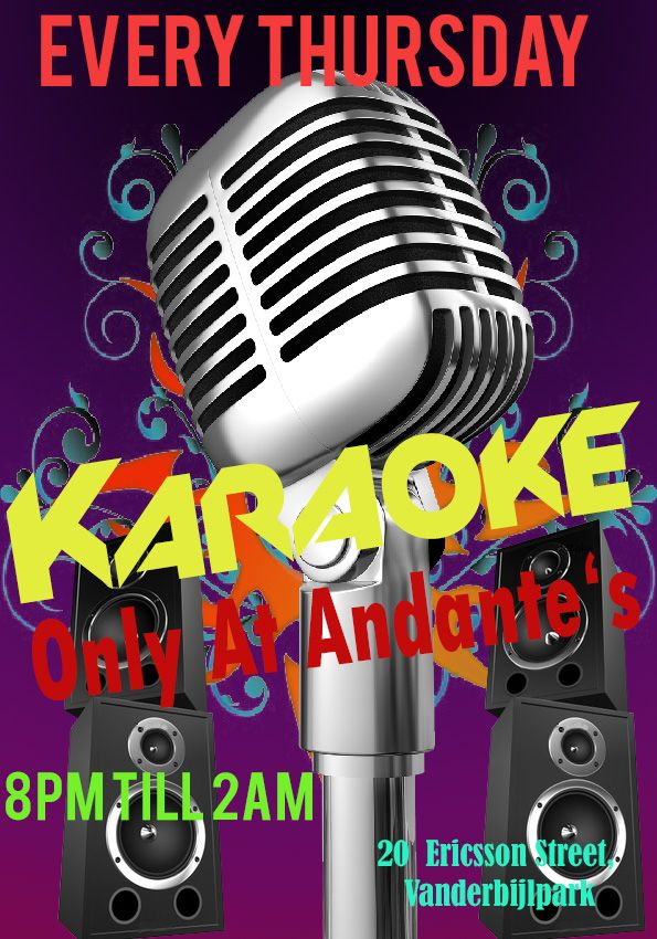 Karaoke Every Thursday evening at Andante's Pub Vanderbijlpark. Huge Variety of songs to choose from. Free shooter give-away for those that sing a song. Big Dance Floor. Friendly Fast Service at the bar. Lots of seats. Lots of save parking. Special on Drinks.  20 Ericsson Str, Vanderbijlpark, Gauteng, South Africa.