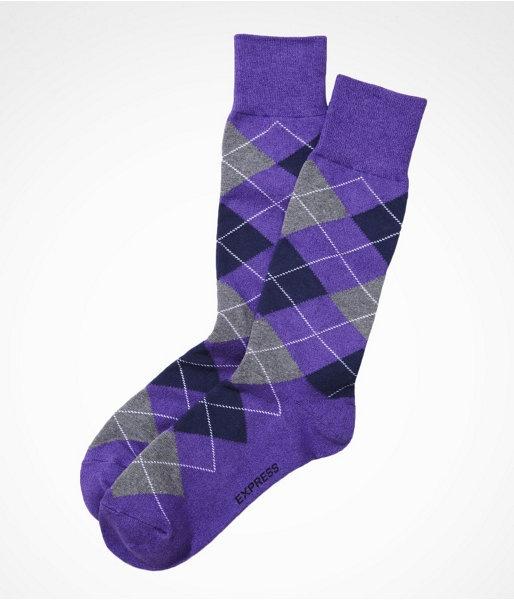 Express Mens Marled Argyle Dress Socks Bright Purple No