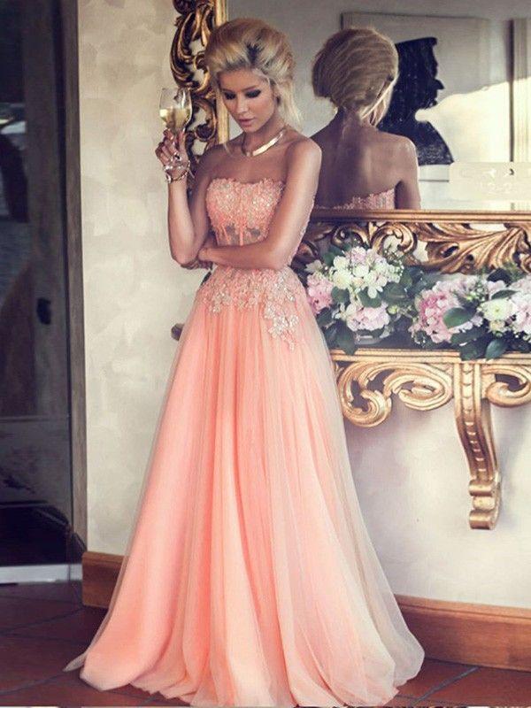 A-Line/Princess Strapless Sleeveless Applique Floor-Length Chiffon Dresses