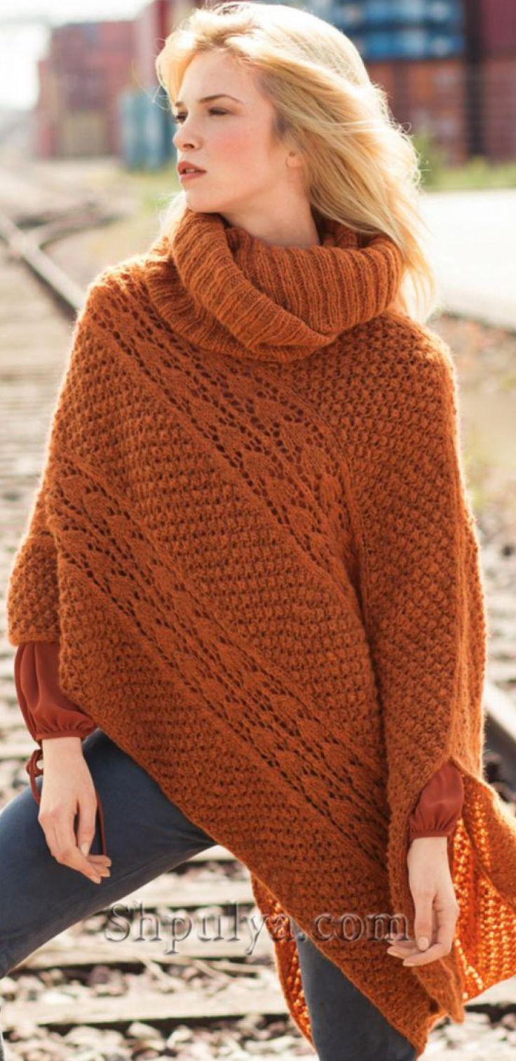 Асимметричное вязаное пончо спицами и шарф петля