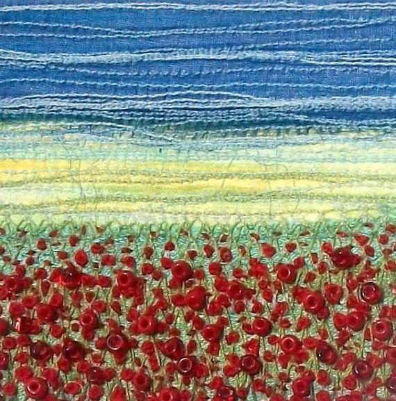 Poppy field fabric landscape stitched beaded art by StitchMikki