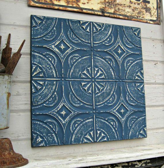 Tin Ceiling Tile. Tin Anniversary Gift.  FRAMED 2'x2'