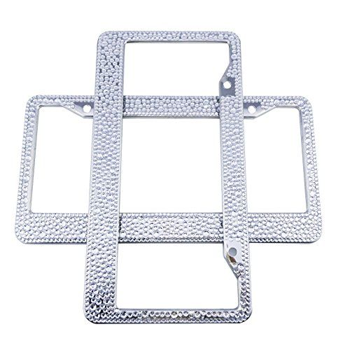 Set of 2 BMW Jeep Wrangler Car License Plate Frame Holder Cover Bracket For Women Girl Men Silver Bling Diamond Sparkle Rhinestones Crystal Stainless Steel Metal Chrome with Screws 2 Pack 122x 63 *** Want additional info? Click on the image.