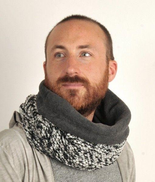 Sort/hvidt tube tørklæde med strik og varmt mørkegråt fleece for