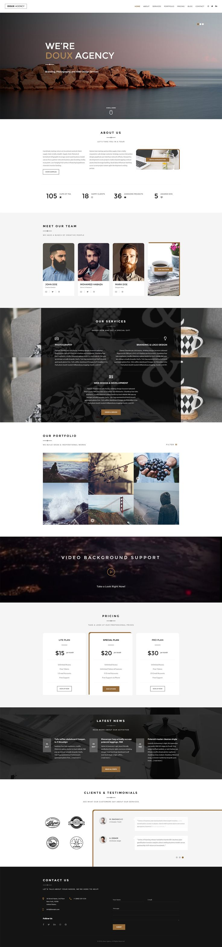 'Doux' is a smart One Page HTML template suited for modern looking portfolios. The responsive template comes in a dark and light version. Main features include subtle parallax scrolling, intro slideshow, team with hire advert add-on, portfolio with quite a slick pop up gallery feature, background videos, pricing table, client logos and testimonial slider. Good to know the PSD is included and also there is a WordPress version is on the way!