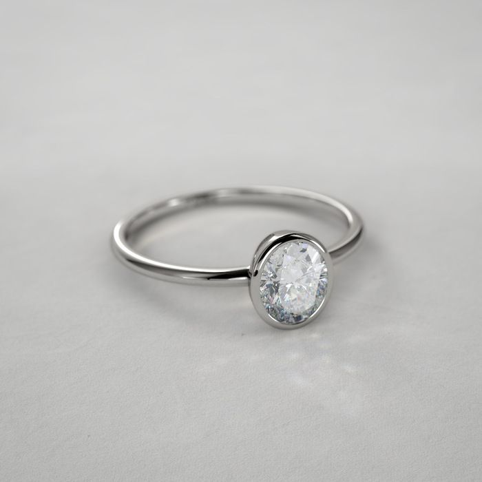 1 ctw Bezel Set Oval Cut Diamond Ring in Platinum