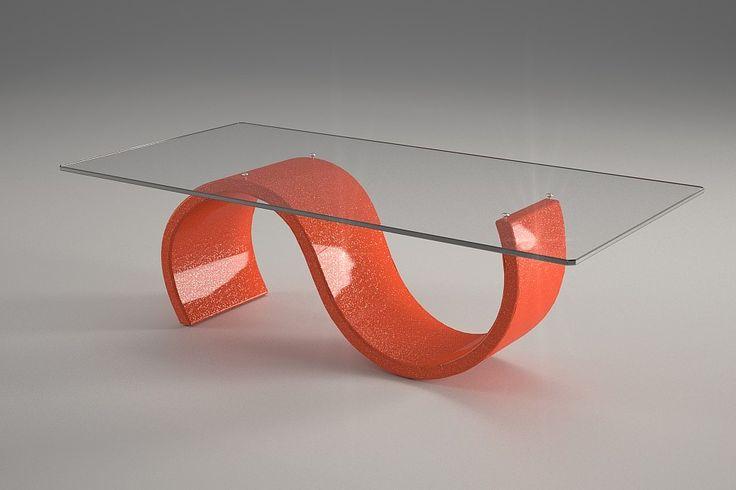 Articolo 416-19     Tavolino da salotto Crono - Finitura: arancione con brillantini argento.Misure: cm 110 x 65  - Altezza: cm 38 - Peso: Kg. 42 - Vetro: rettangolare -  temperato - extrawhite - filo lucido - spessore 1 cm
