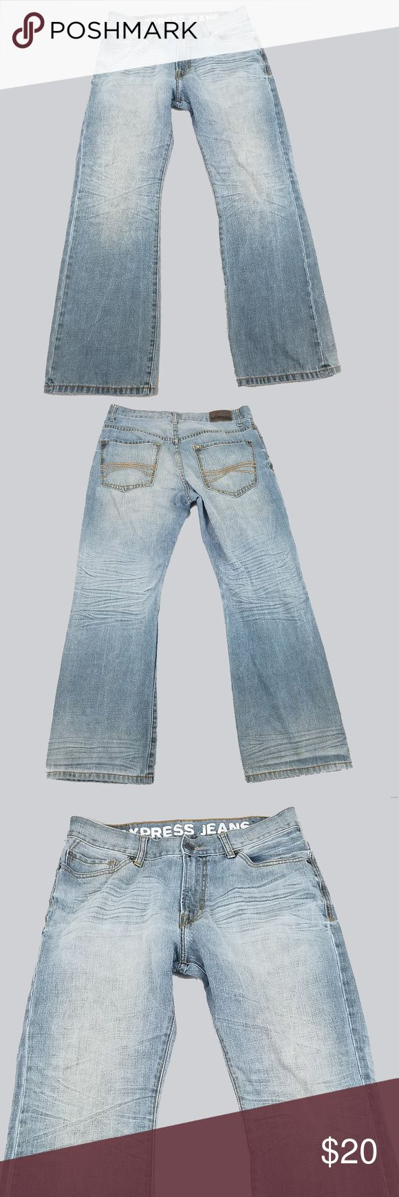 "Express Mens Jeans 34 30 Kingston Boot Cut Express Mens Jeans 34 30 Kingston Boot Cut Low Rise Light Distressed Cotton Excellent condition **actual inseam 29.5** Seam to seam across waist: 17"" Rise: 11"" Inseam: 29.5"" Top of waist to bottom (length): 39"" Express Jeans Bootcut #mensjeansbootcut"