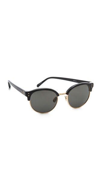 Linda Farrow Luxe Round Rimless Edge Sunglasses // $675