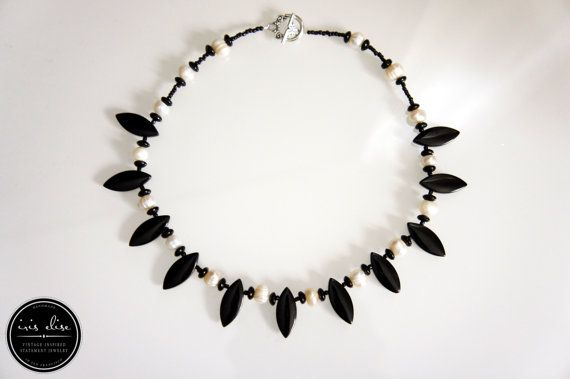 Black & White Freshwater Pearl and Jet Necklace http://www.pinterest.com/iriselisejewel/statement-jewelry/
