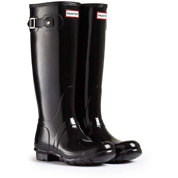 Hunter Women's Original Tall Gloss Boot ($150) ❤ liked on Polyvore featuring shoes, boots, hunter, black, black knee high boots, knee high boots, lined boots, shining boots and black knee length boots