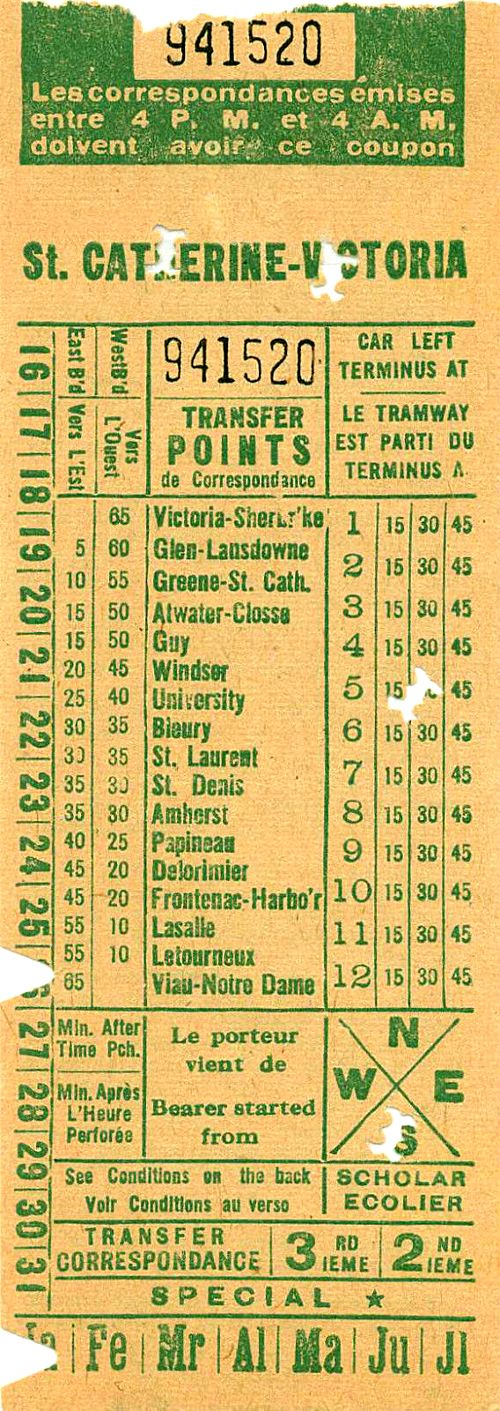 Front of transfer from Montreal Tramways Commission (date unknown; probably 1940s)