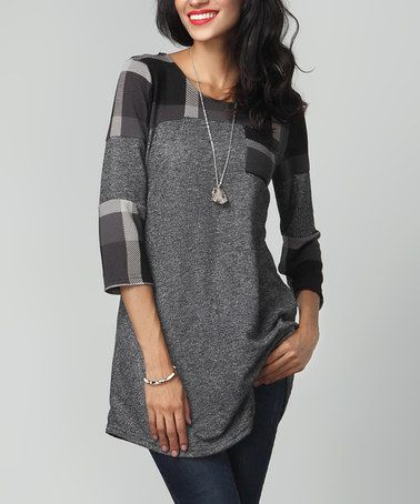 Another great find on #zulily! Charcoal Plaid Terry Cloth Patchwork Tunic #zulilyfinds