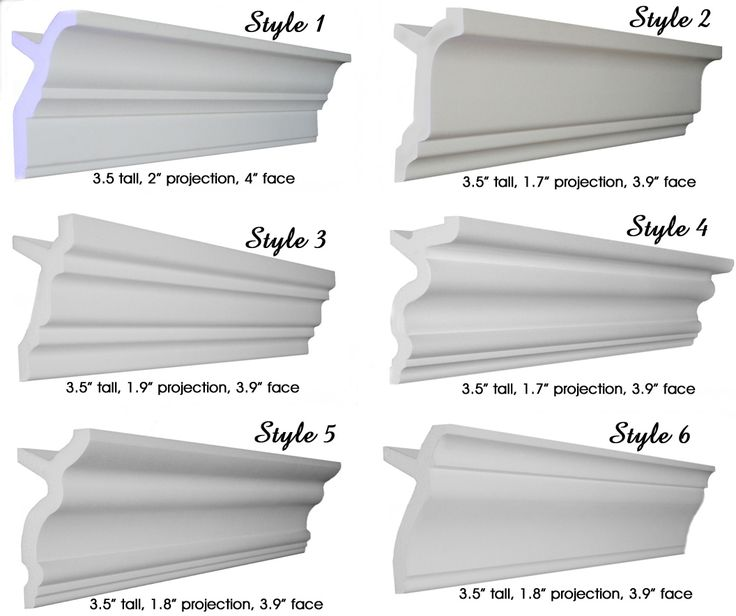 "Styrofoam crown molding, Foam crown molding, 3.5"" 6 Styles"