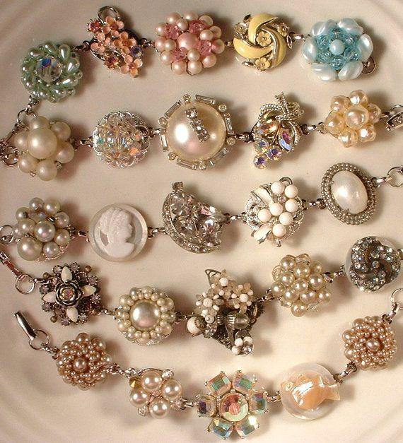Bracelets made with vintage earrings.