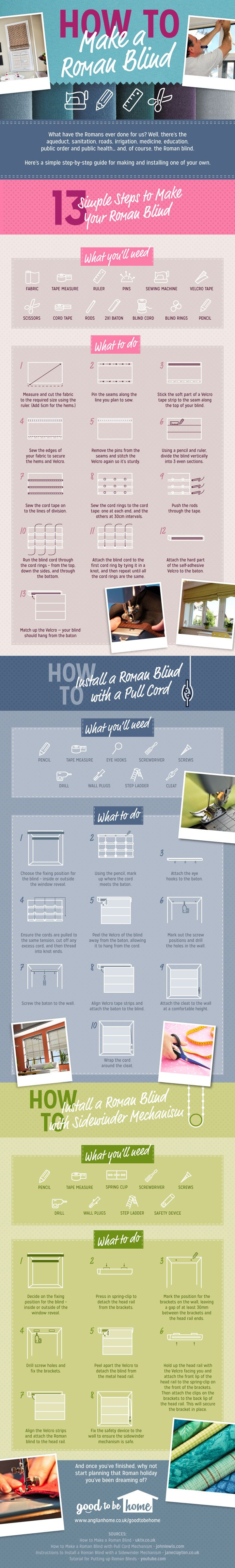 Here's an easy step-by-step Roman blind tutorial. It was created by Good to be Home, a fun website with articles for home owners and DIY enthusiasts.