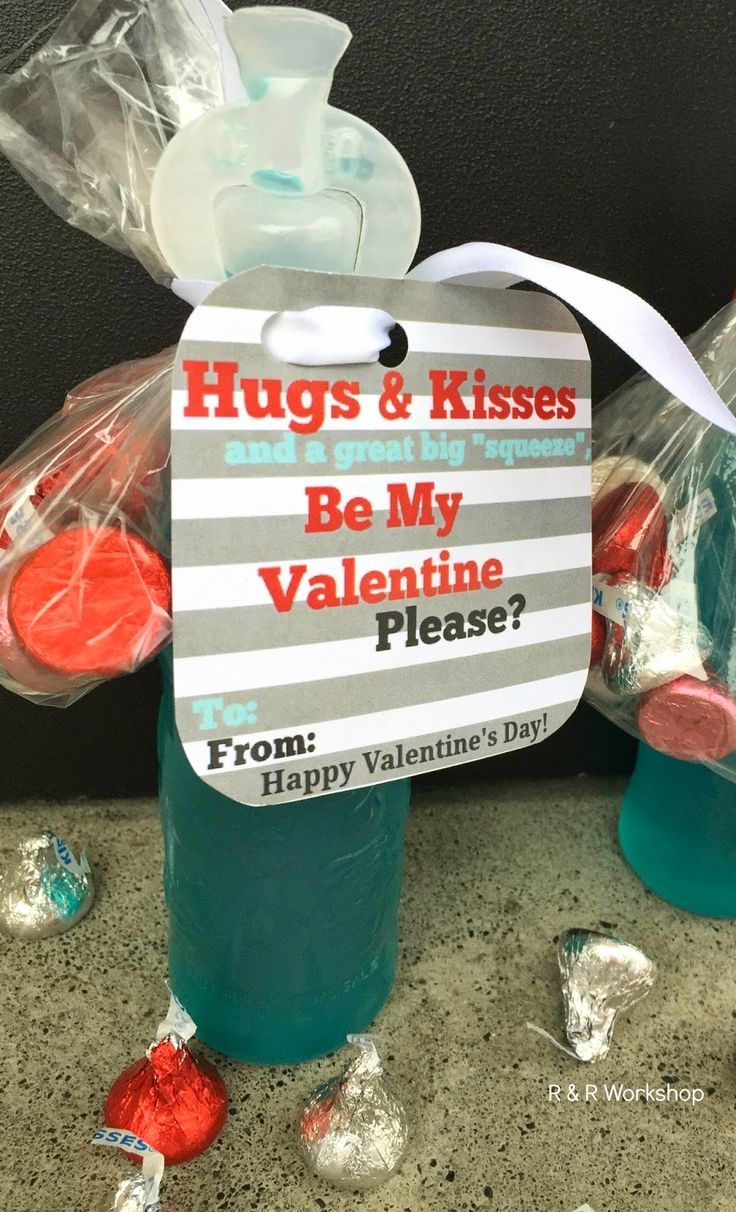 Classroom Ideas For Valentines Day ~ Hugs kisses valentine idea and printable gift tag