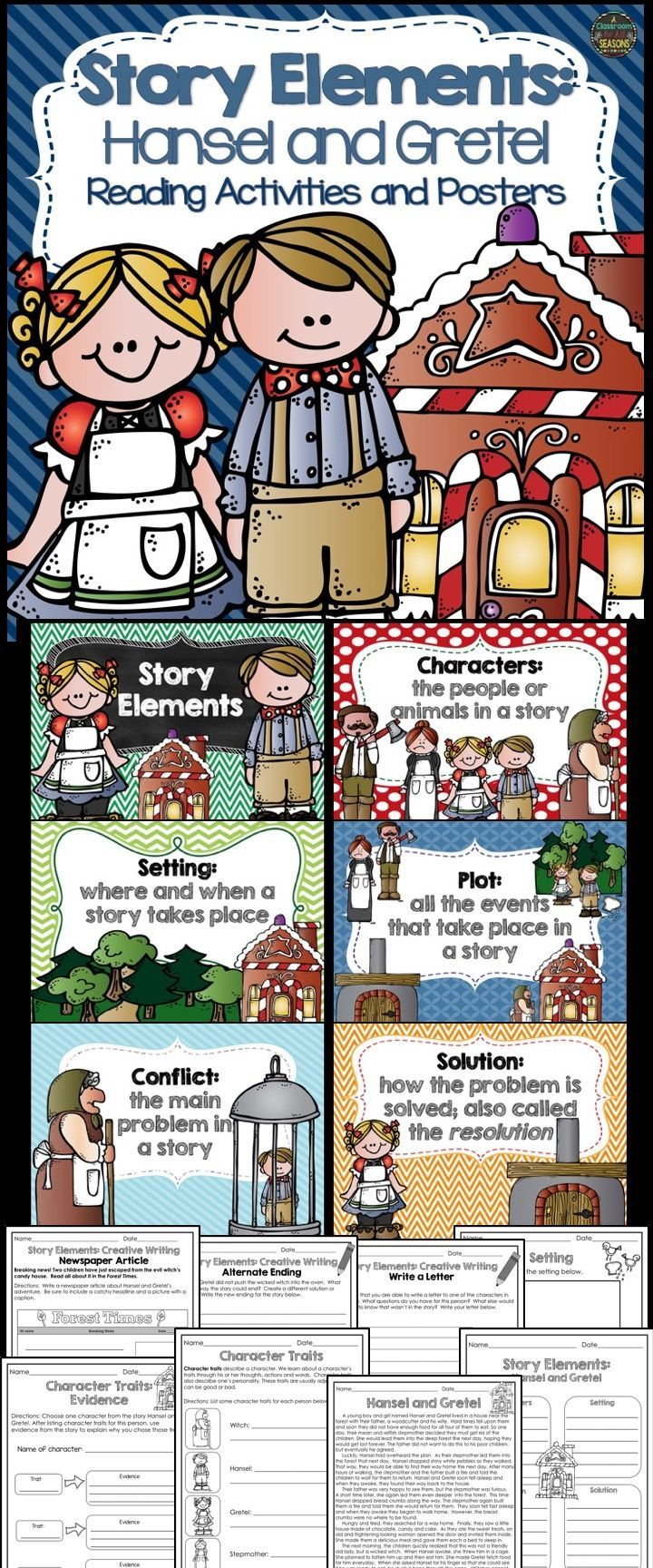 Such a fun way to teach Story Elements! Includes the story of Hansel and Gretel with colorful posters and fun reading activities.