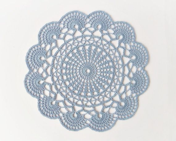 Light blue crochet doily hand crocheted lace by DiaCrochets