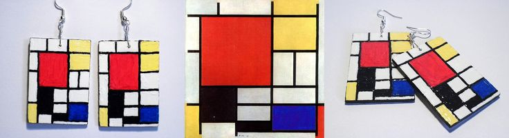 Mondrian, #painted #earrings #handmade