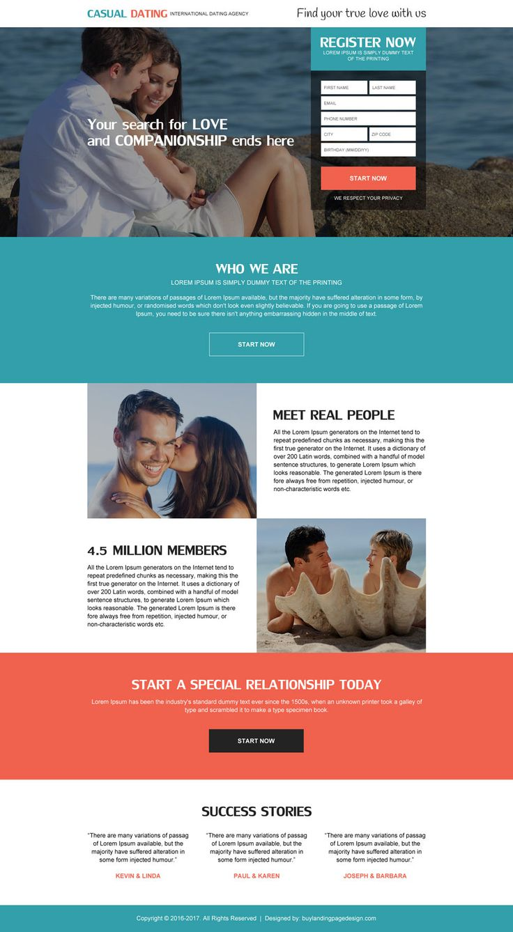 international dating agency sign up generating landing page design