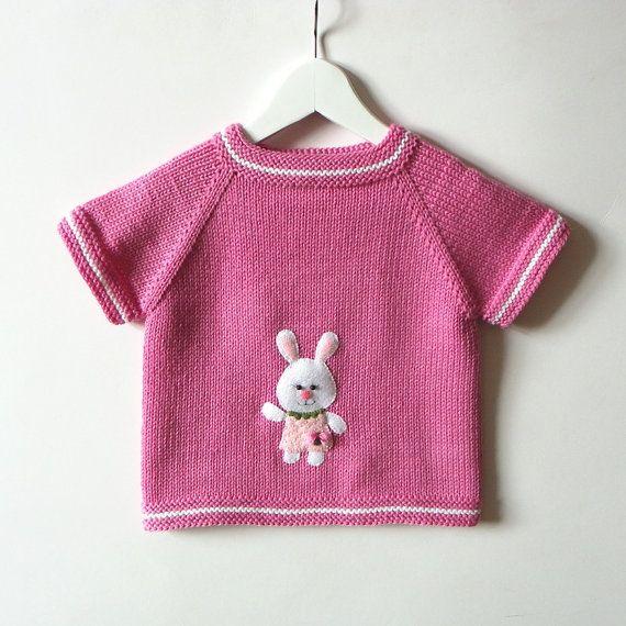Bunny baby vest pink baby girl vest knitted girl vest by Tuttolv