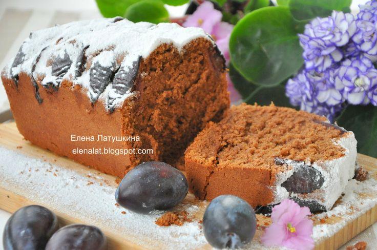 Шоколадно - миндальный кекс со сливами