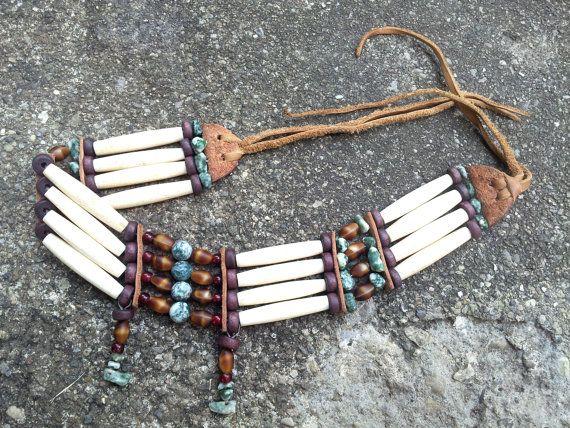 Buffalo Hairpipe Native American Choker Bone by SinginHoundBeadz