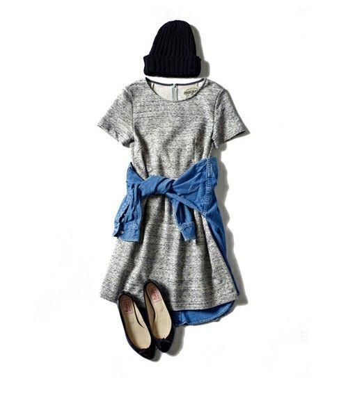 MIRROR OF Shinzone(ミラーオブシンゾーン)のケモノガスリインレイ 半袖ワンピ(ワンピース・ドレス)|グレー