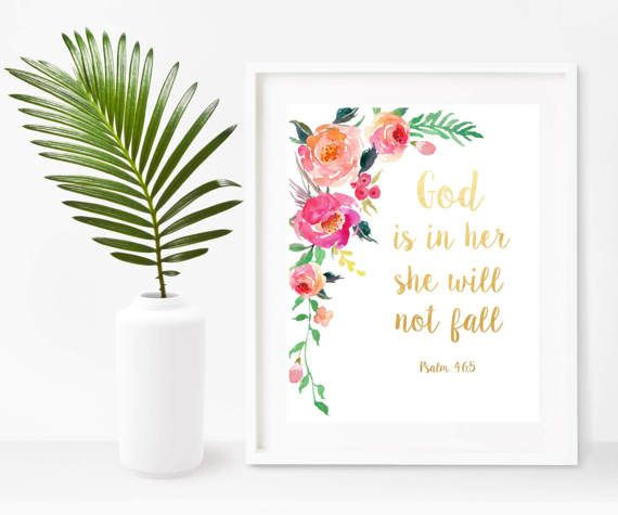 Psalm 46:5 God Is In Her She Will Not Fall Nursery Print
