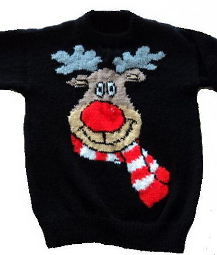 Christmas Rudolph Reindeer Jumper / Sweater Knitting Pattern #7