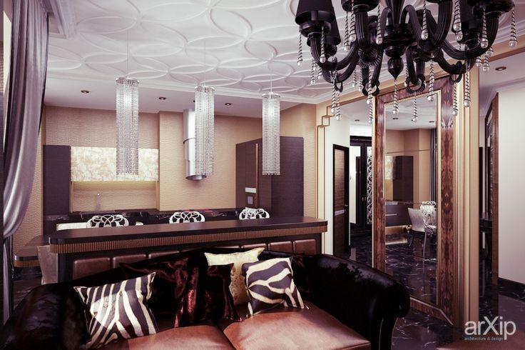 ар-деко от Vitta-group: интерьер, квартира, дом, гостиная, ар-деко, 30 - 50 м2 #interiordesign #apartment #house #livingroom #lounge #drawingroom #parlor #salon #keepingroom #sittingroom #receptionroom #parlour #artdeco #30_50m2 arXip.com