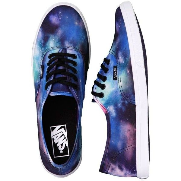 Vans Authentic Lo Pro Cosmic Galaxy Black/True White Girl Shoes ❤ liked on Polyvore featuring shoes, sneakers, black sneakers, black white sneakers, planet shoes, kohl shoes and white trainers