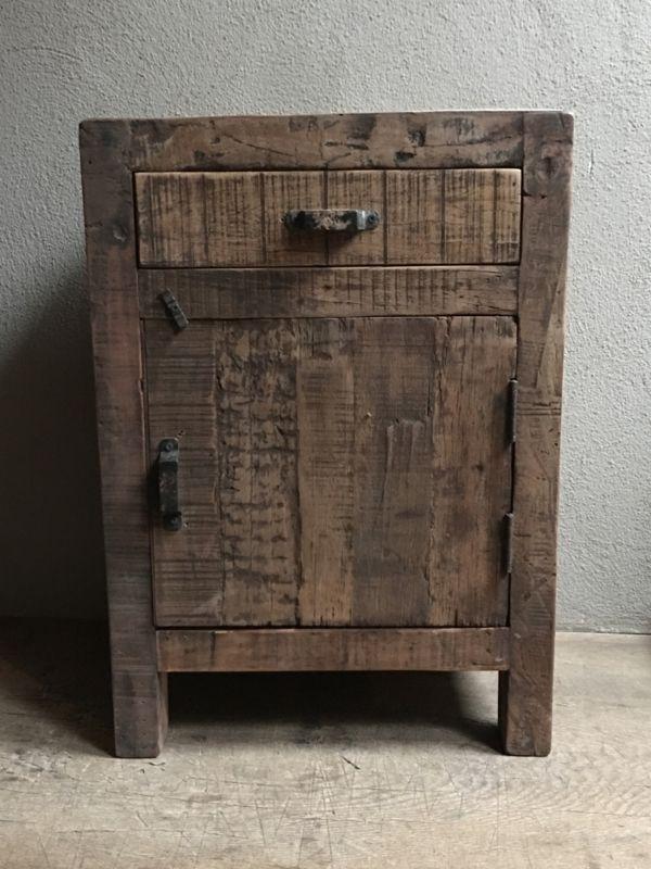 Favoriete Oud vergrijsd houten nachtkastjes nachtkastje landelijk vergrijsde &OG11