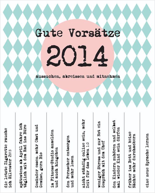 Gute Vorsätze für 2014 - ein Abrisszettel mit Vorschlägen - Party