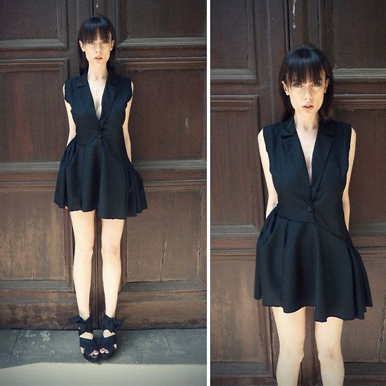 Let Them Stare Tuxedo Dress, Topshop Wisteria Wedges