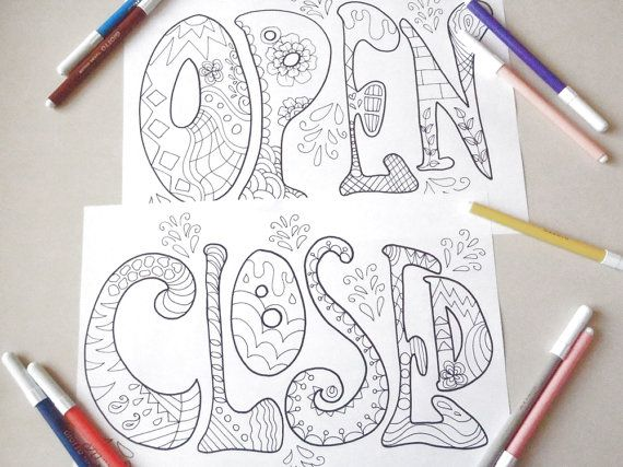 open closed signs shop store office adult coloring colouring school printable board billboard download printable digital lasoffittadiste