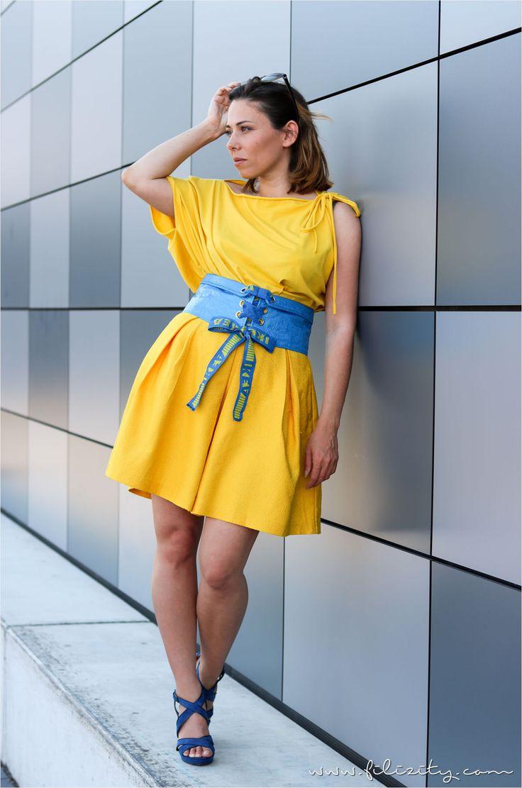 Sonnengelbes Outfit mit DIY Corsagengürtel aus FRAKTA   -  Ikea hack #ikeahack
